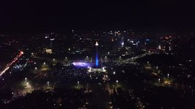 National Monument on New Year 2018 celebration. Beautiful aerial shot of National Monument on New Year 2018 eve celebration with sparkle fireworks in Central stock video