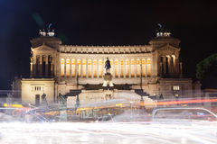 National monument of Victor Emmanuel II at night Royalty Free Stock Photos