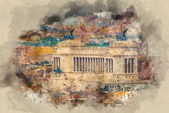 National Monument Vittorio Emanuele in Rome - aerial view from the Vatican stock illustration