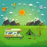 National mountain park camping scene with family trailer caravan. Campsite place landscape with RV traveler truck, tent,bike, campfire, Hiking journey vector illustration