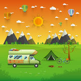 National mountain park camping scene with family trailer caravan. Campsite place landscape with RV traveler truck, tent,bike, campfire, Hiking journey stock illustration