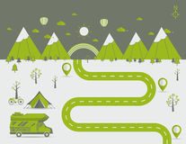 National mountain park camping scene Vector illustration. National mountain park camping scene with family trailer caravan . Campsite place landscape with RV vector illustration