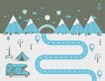 National mountain park camping scene Vector illustration. National mountain park camping scene with family trailer caravan . Campsite place landscape with RV stock illustration