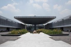 National Museum of Anthropology Plaza, Mexico City. The plaza of the Museo Nacional de Antropología MNA, or National Museum of Anthropology is a national museum Stock Image