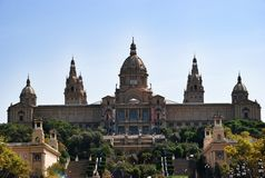 National museum of art of Catalonia MNAC, Barcelona Spain. Palace on Espania square in Barcelona, wonderful architecture Stock Images