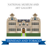 National Museum and Art Gallery Trinidad Tobago vector flat. National Museum and Art Gallery in Trinidad and Tobago. Flat cartoon style historic sight showplace Stock Images