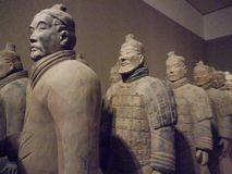 National Museum of Art, Osaka, Japan. The Great Terracotta Army of China`s First Emperor. July 5 - October 2, 2016. Soldiers in clay stock images
