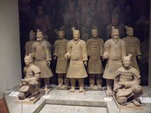 National Museum of Art, Osaka, Japan. The Great Terracotta Army of China`s First Emperor. July 5 - October 2, 2016. Soldiers in clay. Photo: 3 September 2016 royalty free stock images