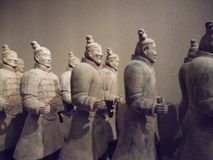 National Museum of Art, Osaka, Japan. The Great Terracotta Army of China`s First Emperor. July 5 - October 2, 2016. Soldiers in clay. Photo: 3 September 2016 stock photo