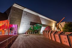 National Museum of Australia at night stock images