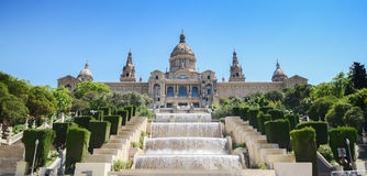 National Museum in Barcelona,Placa De Espanya,Spain,Museu Nacional d'Art de Catalunya. And Magic Fountain, National Art Museum in Barcelona, Spain, The Palau royalty free stock images