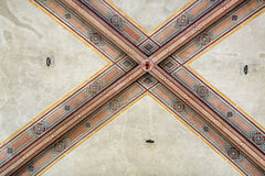 National Museum of Bargello. Florence, Italy-June 12, 2015. Interior detail view of sections of the ceiling artworks in one of the galleries of the National Stock Photos