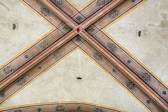 National Museum of Bargello. Florence, Italy-June 12, 2015. Interior detail view of sections of the ceiling artworks in one of the galleries of the National Royalty Free Stock Image