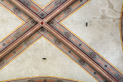 National Museum of Bargello. Florence, Italy-June 12, 2015. Interior detail view of sections of the ceiling artworks in one of the galleries of the National Royalty Free Stock Photo