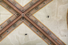 National Museum of Bargello. Florence, Italy-June 12, 2015. Interior detail view of sections of the ceiling artworks in one of the galleries of the National Stock Images