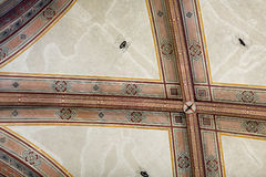 National Museum of Bargello. Florence, Italy-June 12, 2015. Interior detail view of sections of the ceiling artworks in one of the galleries of the National Royalty Free Stock Photos