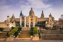 National Museum of Catalan Art MNAC on Plaza Espanya in Barcelona.  stock photo