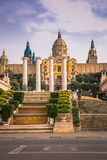 National Museum of Catalan Art MNAC on Plaza Espanya in Barcelona.  stock images