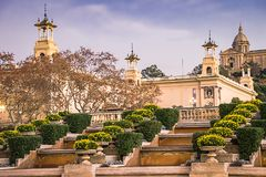 National Museum of Catalan Art MNAC on Plaza Espanya in Barcelona.  royalty free stock images