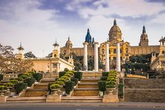 National Museum of Catalan Art MNAC on Plaza Espanya in Barcelona.  royalty free stock photo