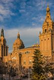 Decorative towers near the National Museum of Catalan Art MNAC on the Plaza of Spain in Barcelona.  royalty free stock image