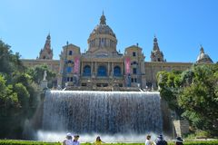 National museum of Catalan in Barcelona, Spain on June 22, 2016. The Museum is housed in the Palau Nac. BARCELONA, SPAIN - JUNE 22: National museum of Catalan in Royalty Free Stock Photos