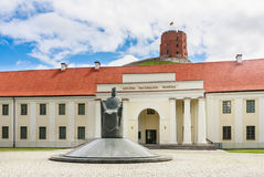 National Museum of Lithuania,  monument to King Mindaugas and Tower of Gediminas, Vilnius Royalty Free Stock Photos