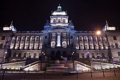 National Museum  in night. Prague Stock Photos