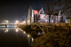 National Museum in the night, Wroclaw stock image