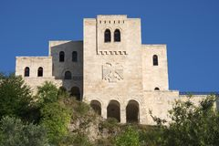 National Museum Skanderbeg - Kruja. National Museum Skanderbeg it was built in the famous castle of Kruja, on facade the double-headed eagle the national symbol royalty free stock image