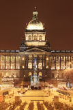 National Museum on snowy Wenceslas Square in the night, Prague Royalty Free Stock Photo