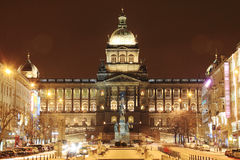 National Museum on snowy Wenceslas Square in the night, Prague Stock Photo
