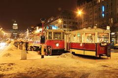 National Museum on snowy Wenceslas Square in the night, Prague Stock Photos