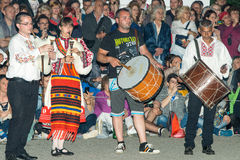 National musicians at the Nestinar Games in the village of Bulgari, Bulgaria Royalty Free Stock Photos