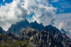 National Nature Park Tre Cime In the Dolomites Alps. Beautiful nature of Italy stock photos