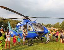 National Night Out. Medical Helicopter surrounded by excited children during the National Night Out event, in Livingston,NJ Royalty Free Stock Photos