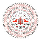 National northen paintings circle frame. Folk handicrafts. Enchanting original ornaments. Simplicity. Red horse, fir, archaic, minimalistic, scribbles. For Stock Photography