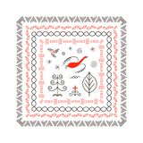 National northen paintings square frame. Folk handicrafts. Enchanting original ornaments. Simplicity. Red bird, stripes, archaic, minimalistic, scribbles. For Royalty Free Stock Photo