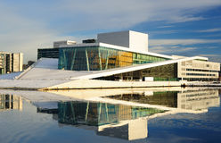 National opera in Oslo. Beautiful view from the fjord to the National Oslo Opera House Stock Image