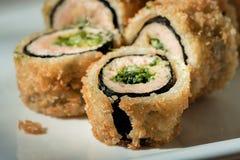 National Oriental food sushi  hot rolls tempura  closeup Stock Photography