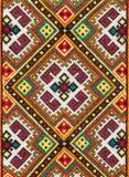 National ornament on textile, photo of ethnic decoration, handmade needlework Royalty Free Stock Images