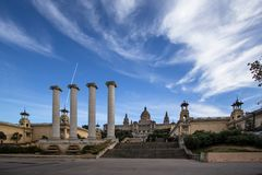 National Palace of Barcelona on mountain Montjuic Stock Photos