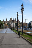 National Palace of Barcelona on mountain Montjuic Royalty Free Stock Photos