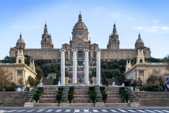 National Palace of Barcelona on mountain Montjuic Stock Image