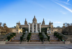 National Palace of Barcelona on mountain Montjuic Royalty Free Stock Photography