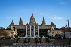National Palace of Barcelona on mountain Montjuic Royalty Free Stock Images