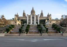 National Palace of Barcelona on mountain Montjuic Royalty Free Stock Photo