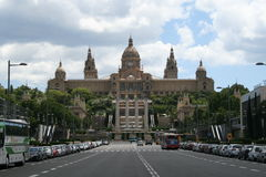 National Palace Barcelona. With a street in the foreground Stock Photos