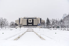 National Palace of Culture, Sofia, Bulgaria covered with snow Royalty Free Stock Photography