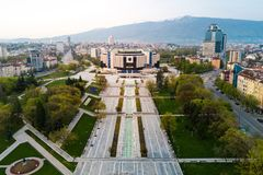 Aerial photo of National Palace of Culture in Sofia. National palace of culture and the surrounding park and buildings in Sofia Bulgaria royalty free stock photos